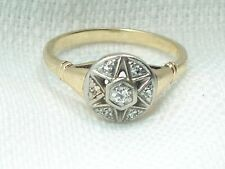 Estate 14K White & Yellow Gold Antique Star Diamond Ring 14kt