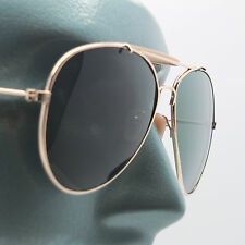 True Glass Lens Classic Aviator Sunglasses Sun Shades Large Gold Frame