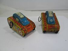 2 Vintage Marx Wind-up Pressed Tin Toy Tanks for Parts or Restore