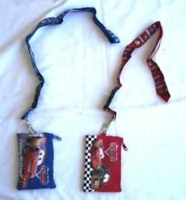 2 Disney Pixar Cars Blue & Red Lanyard Wallet Fast Pass ID Pouch Badge Holders
