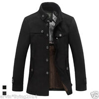 Mens winter jackets Warm Wool Military Coat Jacket Black Grey Spring coats S- XL