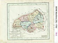 Dépt 76 - Carte de la Seine Maritime Superbe Gravure Cuivre Aquarellée de 1792