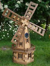 Medium Wooden Garden Windmill with Solar Light! Handmade Ornaments