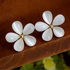 1 Pair Womens Ladys Opal Cat Eye Flower Stud Earrings Party Wedding Costume