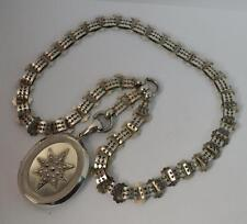 Rare Solid Silver 1880's Victorian Locket and Choker Chain