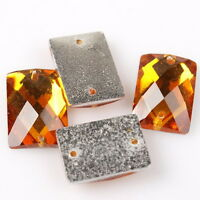 100x Crystal Rhinestone Orange Sew-on Charms Resin Flatback Button 10x14mm 24682