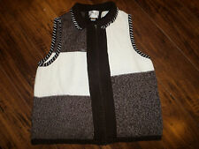 Women's Christopher & Banks Zip Up Sweater Vest Brown Multi-Color Size XL