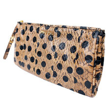 100% Authentic Miu Miu Python Embossed Patent Leather Wristlet Clutch Bag Dots