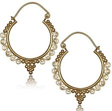 "PAIR BRASS TRIBAL SWIRLS PLUGS EARRINGS GAUGES HANGERS EAR 2"" INCH 18g (1MM)"