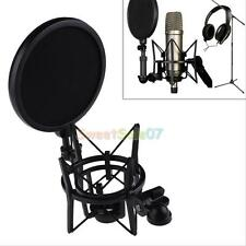 Professional Microphone Mic Shock Mount With Integrated Pop Shield Filter Screen