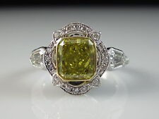 18K Two-Tone 2.60ctw Fancy Yellow Radiant Diamond Engagement Ring Kite $7750