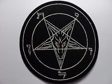 BAPHOMET SILVER  RED  EYES   EMBROIDERED  PATCH