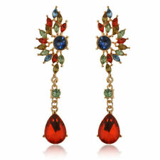 Colorful Crystal Rhinestone Dangle Ear Stud Earrings 1 pair