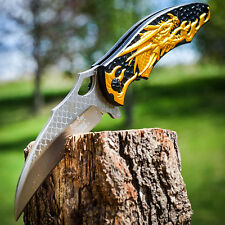 "8.5"" GOLD DRAGON Karambit Claw SPRING ASSISTED OPEN Folding Ninja POCKET KNIFE"
