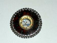 ANTIQUE VICTORIAN SCOTTISH SILVER & MARBLED AGATE COMPASS BROOCH, PIN - c1860!