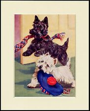 SCOTTISH WESTIE TERRIER WITH HAT AND SCARF DOG PRINT MOUNTED READY TO FRAME