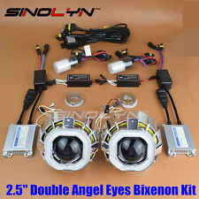 Square Double CCFL Angel Eyes Halo HID Bi-xenon Headlight Projector Lens Kit