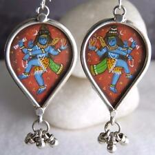 SHIVA ~ Miniature Painting SilverSari Earrings Ghungroo Bells ~ Sterling Silver