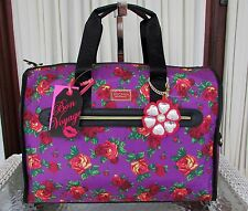 Betsey Johnson Weekender Luggage Duffle Crossbody Bag Purple Floral NWT