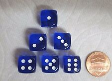 DICE 12mm CHX TL BLUE w/WHITE PIPS - SET OF SIX! SMALL SIZE, COBALT BLUE!