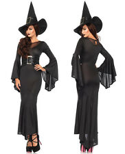Womens Halloween Costume Black Long Fancy Dress Witch Devil Cosplay Outfit New M