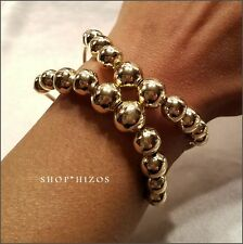 NEW GOLD BALL HIGH SHINE DOUBLE ROW METAL CUFF BRACELET