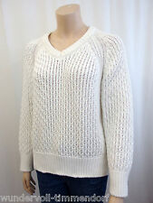 NEU CLOSED Designer Pullover Gr.M / 40 Zopfmuster reine Baumwolle Weiß 3888
