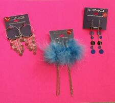 Lot 3 Pairs Costume Jewelry Earrings Icing Black Blue Feather Silver Taupe Hoop