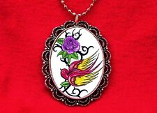 SWALLOW ROSE TATTOO FLASH VINES PENDANT NECKLACE