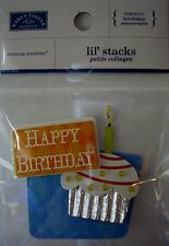NEW 1 pc HAPPY BIRTHDAY Cupcake Candle  KAREN FOSTER LIL' STACKS 3D Sticker