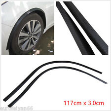 2XBlack Carbon Fiber Feel Rubber Car Bumper Flare Wheel Eyebrow Protector Strips