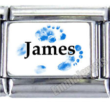 Blue Footprint Baby Boy Name 9mm Custom Italian Photo Charm New