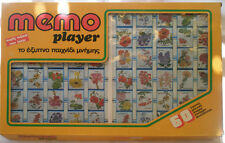 "Memory-pairs Board Game ""MEMO PLAYER"",60 pictures, 1980's made in Greece."