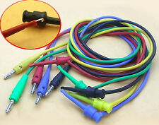 5 set Colors Male 4mm banana plug to Test Hook Clip 100CM Silicone cable Probes