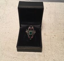 Antique Early Sterling Silver Emerald & Ruby Ornate Figural Bust Ring