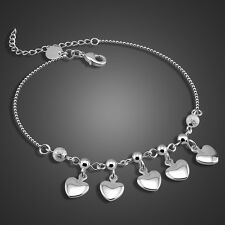 Solid Sterling Silver Heart & Bead Pendant Bead Chain Lady's Anklet PB189