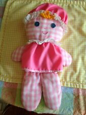 Vintage 1975  FISHER PRICE Crib & Playpen LOLLY RATTLE DOLL  Pink Gingham 420