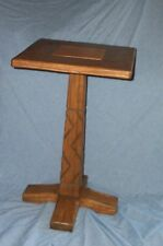VTG LODGE RANCH OAK WESTERN TABLE COWBOY STAND AUGUST BRANDT FURNITURE FT WORTH