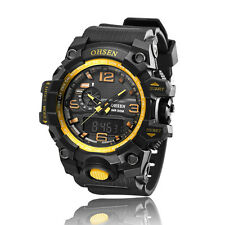 OHSEN Mens Analog Digital Dual Timezone Stainless Steel Quartz Wrist Watch