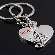 2PCS Lovely Music Key Ring Chain Couples Romantic Keychain Lover Gift Keyfob New