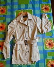 VINTAGE EDDIE BAUER WOMEN'S MEDIUM BEIGE SAFARI JACKET L/S COTTON NICE!