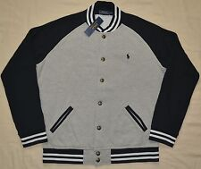 New Large L POLO RALPH LAUREN Men's fleece baseball varsity jacket Gray black