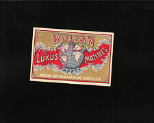 VINTAGE Match Matchbox Label DEEP RICH COLOR Vulkan Luxus Globe   E1