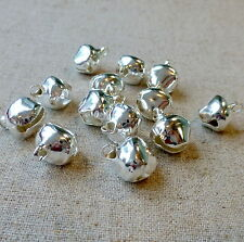 50 PZ - 12 mm Argento Jingle Bells Charm Ciondolo NATALE