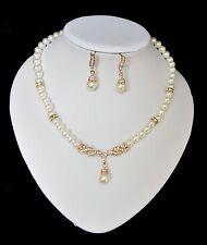 Set 2 Tlg Perlenkette Ohrringe Kette Collier Perlen Vergoldet Strass Halskette