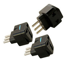 KIT: 3x Grounded Universal Travel Plug Adapter for Italy Chile Tunisia Uruguay