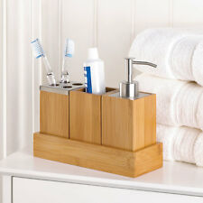 Bamboo Bathroom Accessory Set in Tray Soap Dispenser Cup Toothbrush Holder
