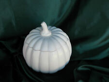 NEW Made in USA Ceramic White Satin Glaze Covered Pumpkin Bowl Holds 7 Cup
