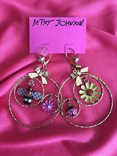 Betsey Johnson Vintage Garden Case Polka Dot Bee Ladybug Flower Hoop Earrings