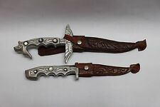 Pair of Philipines Souvenier Knives Matching Old Unique Original Scabbards Cebu